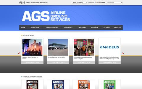 Screenshot of Home Page ags-airlinegroundservices.com - Airline Ground Services / Our Publications / Eva International - Aviation Publishers and Event Organiser - captured Sept. 18, 2015
