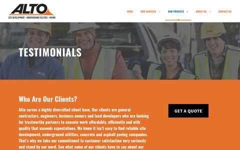 Screenshot of Testimonials Page altoconstruction.com - Testimonials - ALTO Construction - captured Oct. 3, 2018