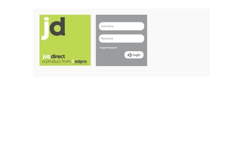 Screenshot of Login Page 2adpro.com - Job Direct 3 - Enterprise - captured Feb. 5, 2016