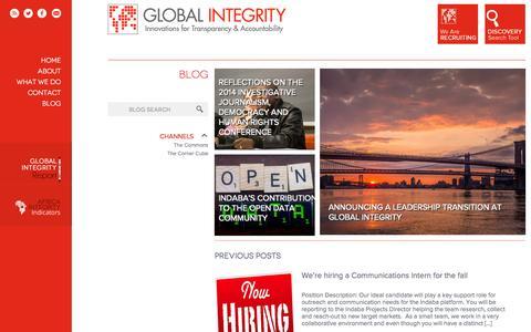 Screenshot of Blog globalintegrity.org - BLOG   Global Integrity - captured Sept. 12, 2014