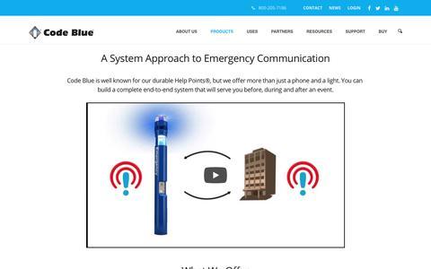 Screenshot of Products Page codeblue.com - Code Blue Corporation–Emergency Blue Light Phones - captured Sept. 28, 2018