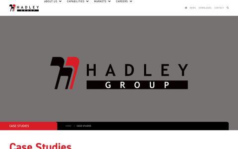 Screenshot of Case Studies Page hadleygroup.com - Case Studies - Hadley Group - captured Sept. 26, 2018