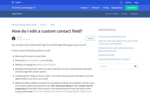 Screenshot of Support Page activecampaign.com - How do I edit a custom contact field? – ActiveCampaign Help Center - captured June 18, 2019