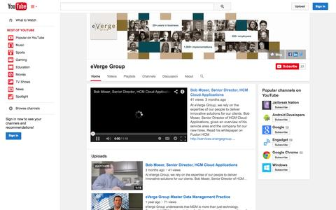 Screenshot of YouTube Page youtube.com - eVerge Group  - YouTube - captured Oct. 23, 2014