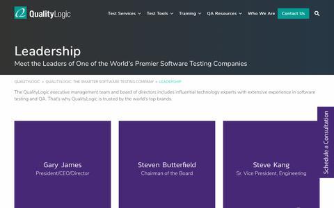 Screenshot of Team Page qualitylogic.com - Expertise in Software Testing & QA - QualityLogic Leadership Team - captured Oct. 10, 2019