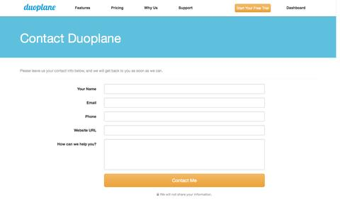 Screenshot of Contact Page duoplane.com - Contact - Duoplane Commerce - captured Sept. 22, 2014
