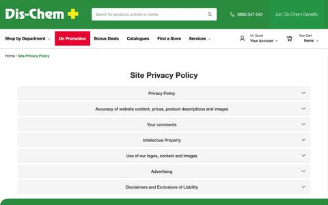 Screenshot of Privacy Page dischem.co.za - Site Privacy Policy / Dis-Chem - Pharmacists who care - captured Jan. 20, 2019