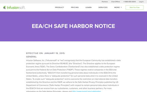 EEA/CH Safe Harbor Notice