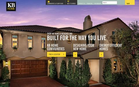 Screenshot of Home Page kbhome.com - New Home Builders In Your Area - Built to Order | KB Home - captured Sept. 24, 2014