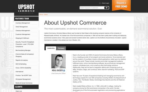 Screenshot of About Page upshotcommerce.com - ECommerce Software About Upshot Commerce - captured Sept. 22, 2014