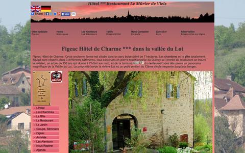 Screenshot of Home Page le-murier.com - Figeac Hotel restaurant de Charme vallée du Lot - captured June 19, 2015