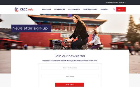 Screenshot of Signup Page crccasia.com - Sign up to our newsletter - captured Oct. 15, 2017