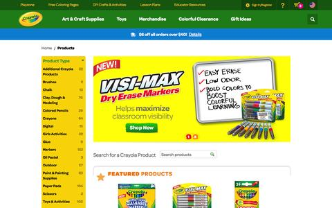 Screenshot of Products Page crayola.com - Products | crayola.com - captured Sept. 18, 2014