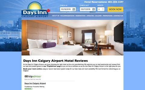 Screenshot of Testimonials Page daysinncalgary.ca - Hotel Reviews | Days Inn Calgary Airport Hotel - captured March 16, 2016