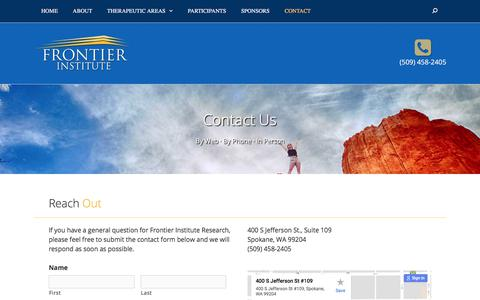 Screenshot of Contact Page frontierinstituteresearch.org - Contact Us • Frontier Institute Research - captured Oct. 14, 2017