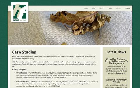 Screenshot of Case Studies Page hempfabric.co.uk - Case Studies | Hemp Fabric UK - captured Jan. 28, 2016
