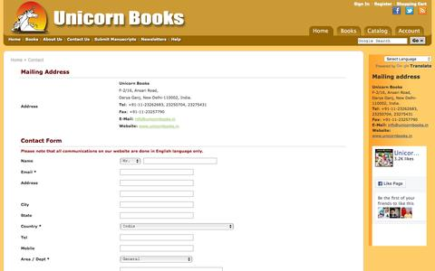 Screenshot of Contact Page unicornbooks.in - Contact us | Unicorn Books - captured Feb. 17, 2016