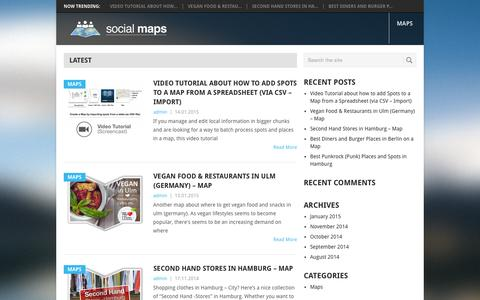 Screenshot of Home Page social-maps.com - Social Maps - Resource for Maps, GIS & Web Catography | Maps and GIS apps for travelers, special interest groups, communities, neighborhoods, journalists, publishers, ... - captured Sept. 20, 2015
