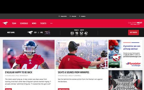 Screenshot of Press Page stampeders.com - News - Calgary Stampeders - captured July 11, 2017