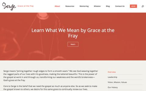 Screenshot of About Page serge.org - About - Serge :: Grace at the Fray - captured Jan. 20, 2018