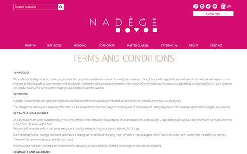 Screenshot of Terms Page nadege-patisserie.com - Terms and Conditions – Nadège Patisserie - captured Oct. 19, 2018