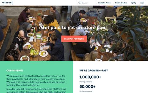 Screenshot of Jobs Page patreon.com - Careers   Patreon - captured Feb. 24, 2018
