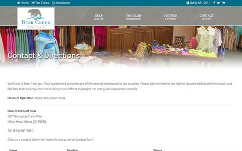 Screenshot of Contact Page Maps & Directions Page bearcreekhhi.com - Bear Creek Golf Club | Hilton Head Island, SC - Contact & Directions - captured July 6, 2018