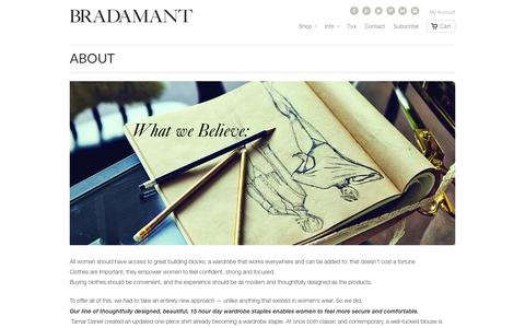 Screenshot of About Page bradamant.com - Fashionable Women's Bodysuits | Designer Bodyblouses & Leotards | BRADAMANT - captured Sept. 30, 2014