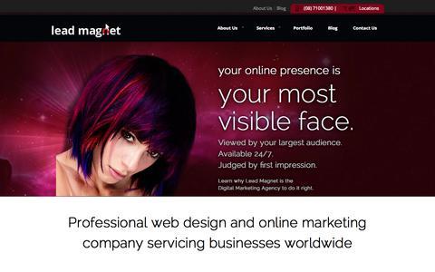 Screenshot of Home Page lead-magnet.com.au - Amazing Adelaide web design | Adelaide SEO | Lead Magnet - captured Sept. 29, 2014