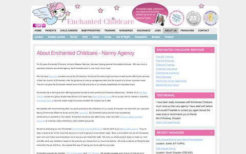 Screenshot of About Page enchantedchildcare.com - nanny agency kent, surrey, sussex, essex, london - captured Oct. 2, 2014