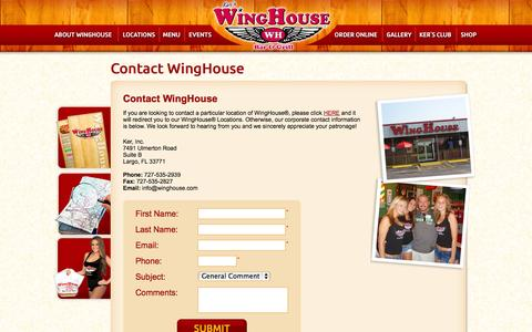 Screenshot of Contact Page winghouse.com - Contact the WingHouse | Ker's WingHouse - captured Sept. 22, 2014