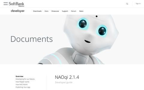 Screenshot of Developers Page softbankrobotics.com - Developer guide | Pepper Developer Portal - captured Dec. 15, 2016