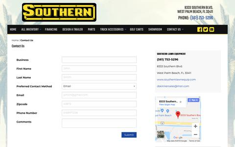 Screenshot of Contact Page southernlawnequip.com - Contact Us | Southern Lawn Equipment | West Palm Beach, FL Trailer Dealer and Lawn Equipment Dealer near Miami - captured Oct. 20, 2018