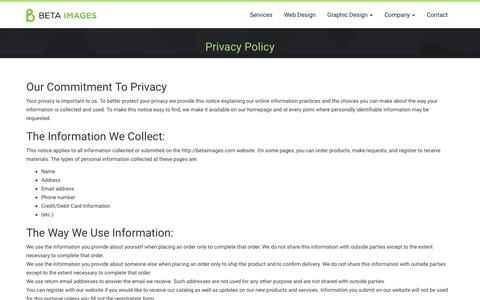 Screenshot of Privacy Page betaimages.com - Privacy Policy - Beta Images Design Studio - captured Nov. 22, 2016