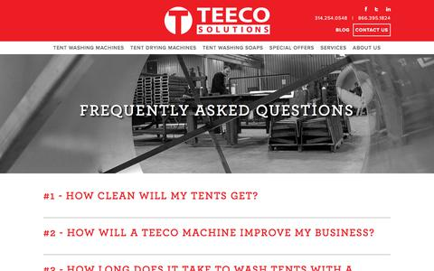 Screenshot of FAQ Page teecosolutions.com - Frequently Asked Questions - Teeco Solutions - captured Sept. 21, 2018