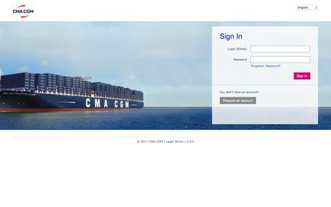 Screenshot of Support Page cma-cgm.com - Sign In - captured Nov. 27, 2017