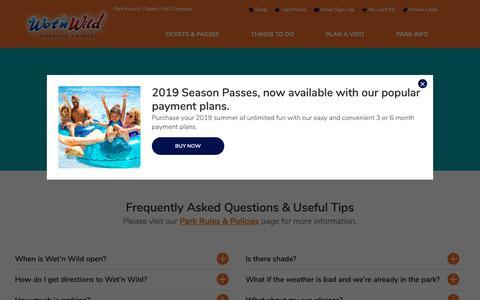 Screenshot of FAQ Page emeraldpointe.com - FAQs & Tips | Wet'n Wild - captured Oct. 18, 2018