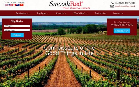 Screenshot of Home Page smoothred.co.uk - SmoothRed - Wine Tasting Holidays, Tours and Weekends - captured Feb. 23, 2016