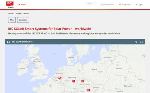 Screenshot of Locations Page ibc-solar.com - Locations - captured June 16, 2016