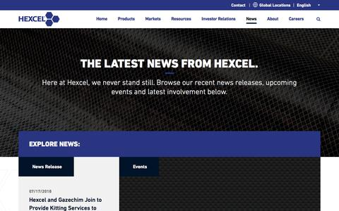 Screenshot of Press Page hexcel.com - News | Hexcel - captured July 22, 2018