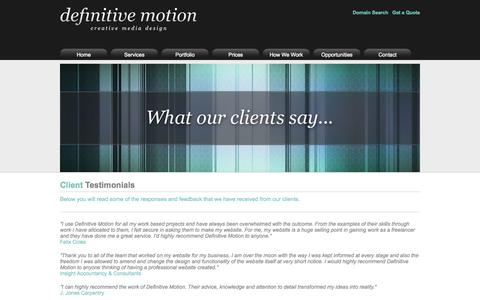 Screenshot of Testimonials Page definitivemotion.com - Definitive Motion - Testimonials - captured Oct. 5, 2014