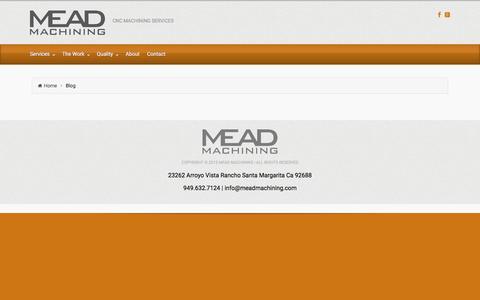 Screenshot of Blog meadmachining.com - Blog - captured Sept. 20, 2018