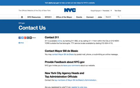 Screenshot of Contact Page nyc.gov - Contact Us | City of New York - captured Sept. 23, 2018