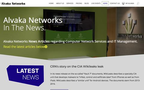 Screenshot of Press Page alvaka.net - Alvaka Networks News Articles | Computer Network Services and IT Management News - captured Oct. 8, 2017