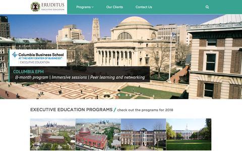 Screenshot of Home Page eruditus.com - Executive Education - Columbia, INSEAD, MIT Sloan, Wharton - captured Sept. 22, 2018