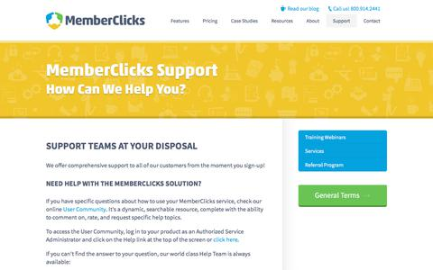 Screenshot of Support Page memberclicks.com - Support | Memberclicks | Association Software - captured July 3, 2018