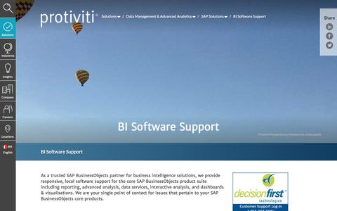 Screenshot of Support Page protiviti.com - BI Software Support | Protiviti - Bahrain - captured Dec. 3, 2019