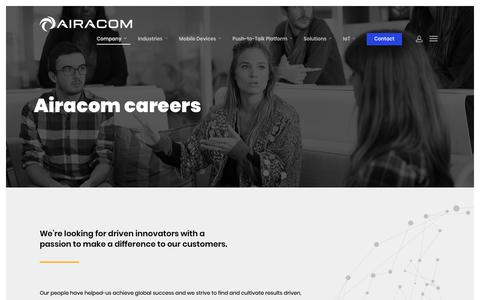 Screenshot of Jobs Page airacom.com - AIRACOM | Careers in Mobile Technology & Applications - captured Dec. 18, 2018