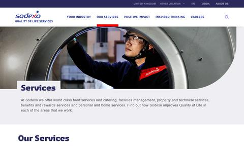 Screenshot of Services Page sodexo.com - Our services - captured July 8, 2019