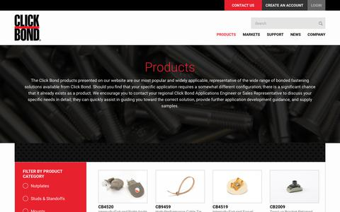 Screenshot of Products Page clickbond.com - :: Click Bond, Inc. :: Products - captured July 19, 2018